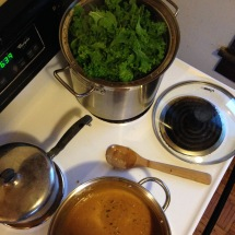 peanut sauce served over steamed kale