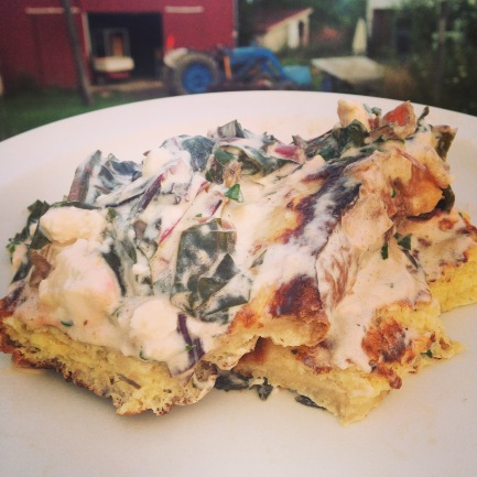 savory french toast bake with mascarpone cheese and chard